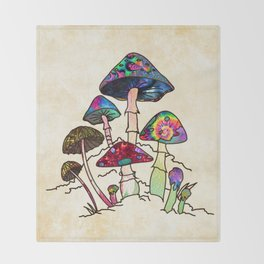 Garden of Shroomz Throw Blanket