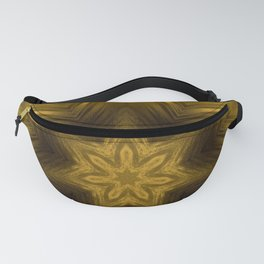 Golden Amber Metalic Abstract Star #Kaleidoscope Fanny Pack