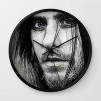 jared leto Wall Clocks featuring Jared Leto by Luna Perri