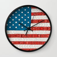 novelty Wall Clocks featuring USA by Bianca Green