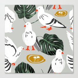 Pigeons #illustration #pattern Canvas Print
