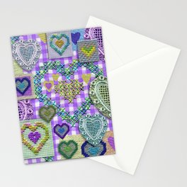 Open Hearted - Lilac Gingham Stationery Cards
