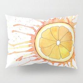 Splash Orange Slice Watercolor Painting Pillow Sham