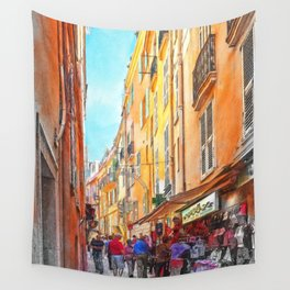 Narrow busy street in Monaco, Monte Carlo Wall Tapestry