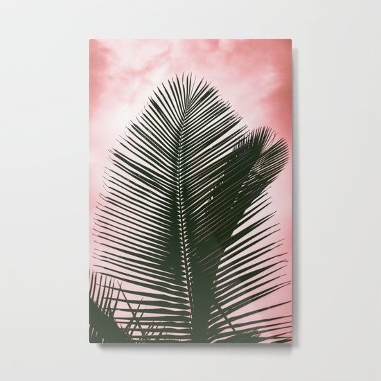 Palms on Pink Metal Print