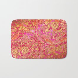 Hot Pink and Gold Baroque Floral Pattern Bath Mat