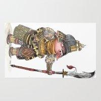 bouletcorp Area & Throw Rugs featuring Cochon Samouraï by Bouletcorp