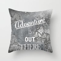 adventure is out there Throw Pillows featuring Adventure by Zach Terrell