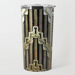 Metallic art nouveau design, vintage,elegant,chic,art nouveau, belle epoque,beautiful,gold,metallic, Travel Mug