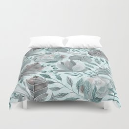 Watercolor Leaf And Succulent Pattern Duvet Cover