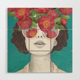 The optimist // rose tinted glasses Wood Wall Art