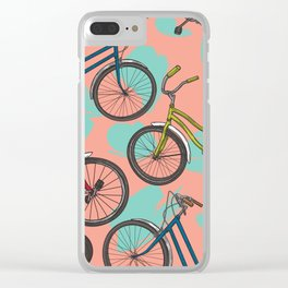Retro 80s Bicycle Pattern Clear iPhone Case