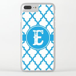 Blue Monogram: Letter E Clear iPhone Case