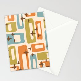 Retro Mid Century Modern Abstract Pattern 922 Orange Olive Blue Stationery Cards
