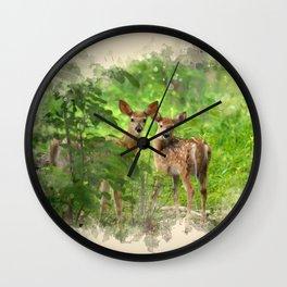 Watercolor Deer Wall Clock