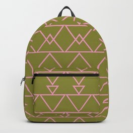 Aztec Lines Pattern in Moss Green Backpack