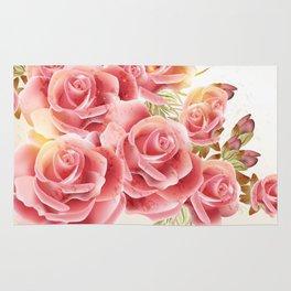 Artistic Pink Roses Rug