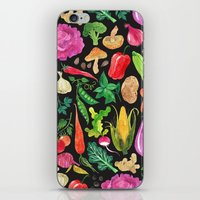 oana befort iPhone & iPod Skins featuring VEGGIES in black by Oana Befort