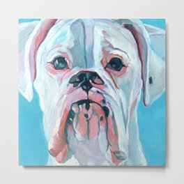 Otis the White Boxer Metal Print