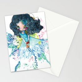 Blue nature with baby fox Stationery Cards