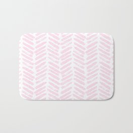 Handpainted Chevron pattern light pink stripes Bath Mat