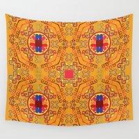 orange pattern Wall Tapestries featuring Orange by MinaSparklina
