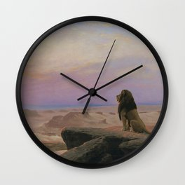 The Lion, The Serengeti, and the Sun, The Two Majesties African Plains landscape painting by Jean-Léon Gérôme Wall Clock