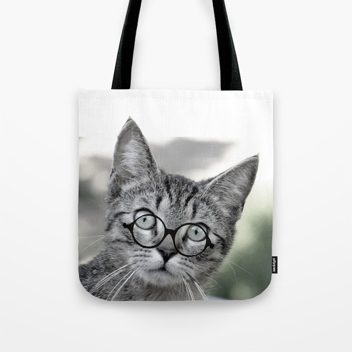 Old Lady Cat With Gl Tote Bag