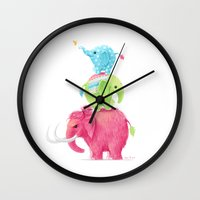elephants Wall Clocks featuring Elephants by Freeminds