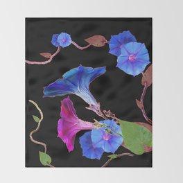 Black  Color Blue Morning Glory Art Design Pattern Throw Blanket