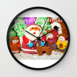 Merry Christmas from Santa and the Gingerbread Family Wall Clock