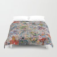 supergirl Duvet Covers featuring Vintage Comic Superheroes Galore (Limited Time) by Dave Seedhouse.com