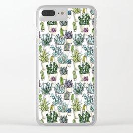 Tiny Cactus Succulents Cacti Clear iPhone Case