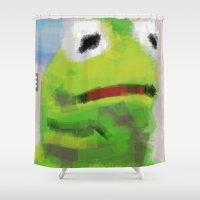 kermit Shower Curtains featuring kermoji by escapistfiction