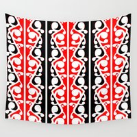 maori Wall Tapestries featuring  Maori Kowhaiwhai Traditional Pattern  by mailboxdisco