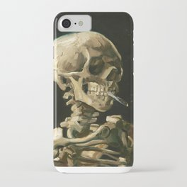 Skull of a Skeleton with Burning Cigarette by Vincent van Gogh iPhone Case