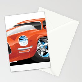 Classic Seventies Muscle Car Cartoon Stationery Cards