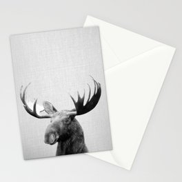 Moose - Black & White Stationery Cards