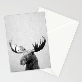 Moose - Black & White Stationery Cards