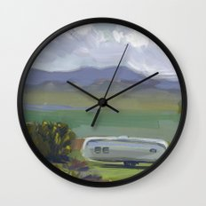 AIRSTREAM, Montana Travel Sketch by Frank-Joseph Wall Clock