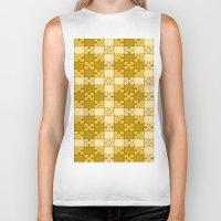 yellow pattern Biker Tanks featuring Puzzle Pattern,yellow by MehrFarbeimLeben