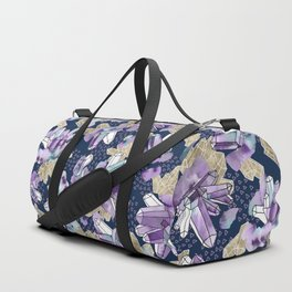 Amethyst Crystal Clusters / Violet, Blue and Gold Duffle Bag
