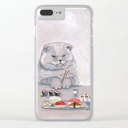 Sushi Cat Cutting Board Clear iPhone Case