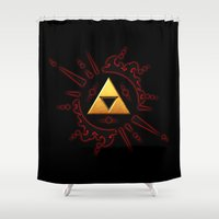 the legend of zelda Shower Curtains featuring The Legend Of Zelda  by DavinciArt