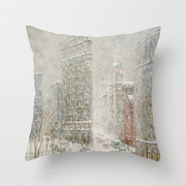 Flatiron Building New York City, Winter landscape painting by Guy Carleton Wiggins Throw Pillow