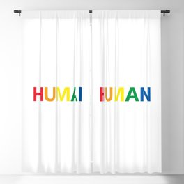 Human Rainbow Text Blackout Curtain