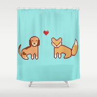 the hound Shower Curtains featuring Fox & Hound by AndrewMier