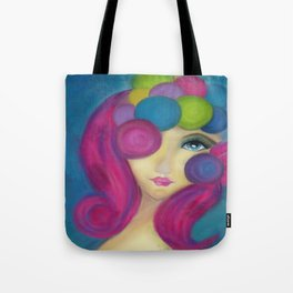 Blue Face Girl w/o Quote Tote Bag