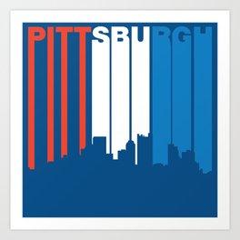 Red White And Blue Pittsburgh Pennsylvania Skyline Art Print
