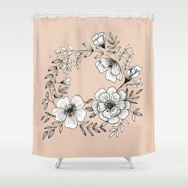 Line Flower Wreath Shower Curtain